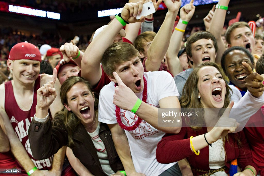 Student section of the Arkansas Razorbacks celebrates after a game against the Florida Gators at Bud Walton Arena on February 5, 2013 in Fayetteville, Arkansas. The Razorbacks defeated the Gators 80-69.