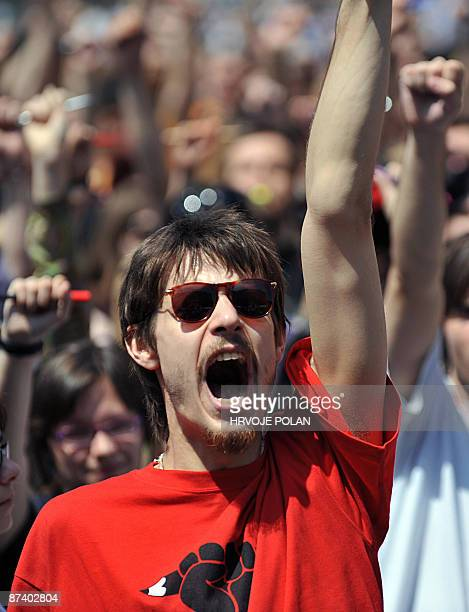 Student shouts as several hundred others march during a protest in Zagreb on May 16, 2009. Students, mostly from Zagreb University�s Faculty of...