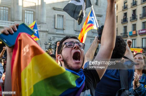 A student shows enthusiasm after the Declaration of President Carles Puigdemont Students were demonstrating in Plaza Sant Jaume awaiting for...