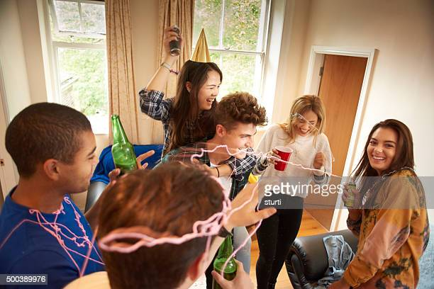 student silly string party