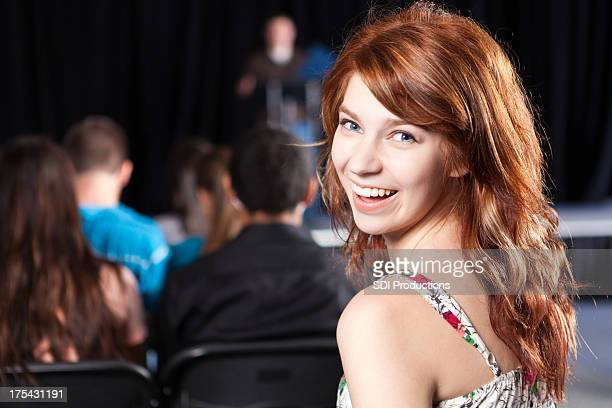 Student smiling during school event