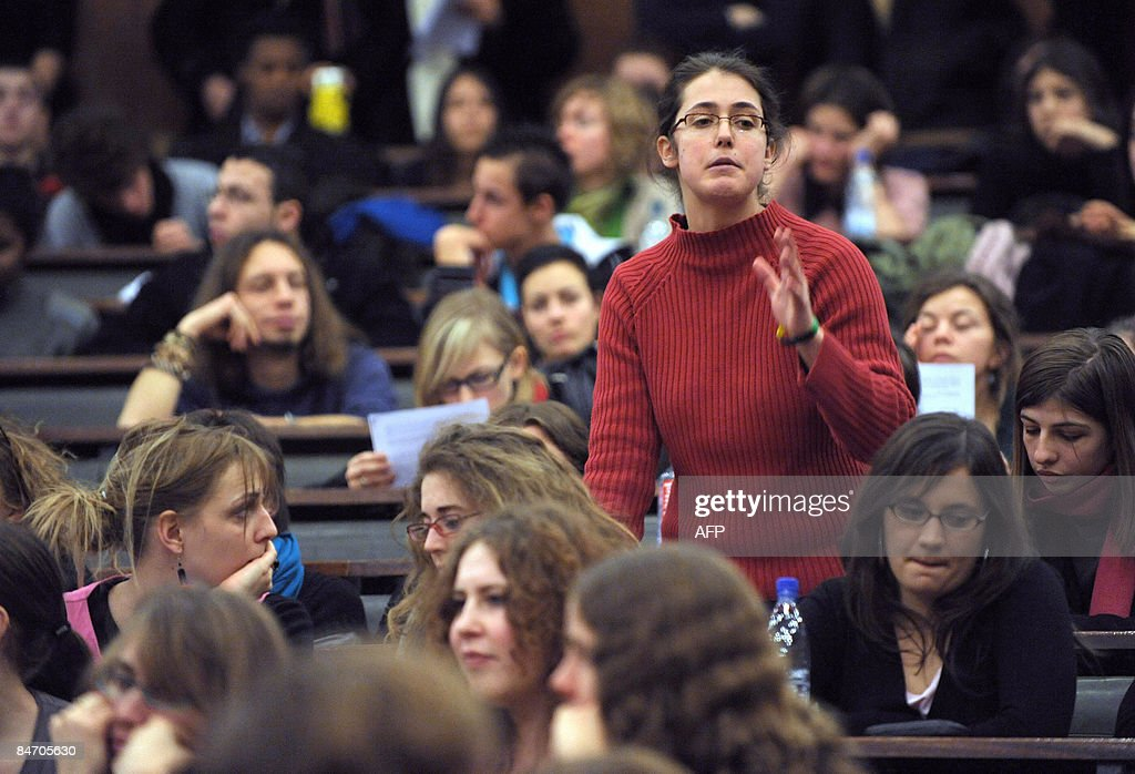 A student speaks during a students general assembly at the Strasbourg university on February 9, 2009, focused on the protestation to denounce government decree reforming the teachers-researchers status, and the universities autonomy.