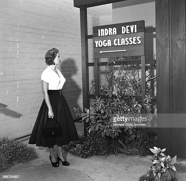 A student stands outside Indra Devi Yoga Studio in HollywoodCalifornia