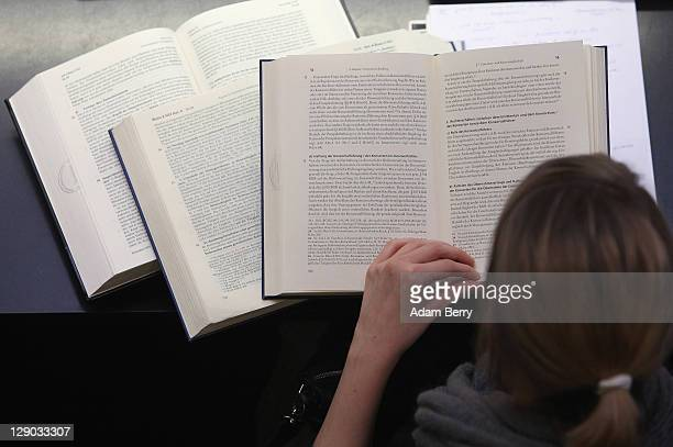 A student studies legal textbooks in the law faculty at Humboldt University prior to the beginning of the winter semester on October 11 2011 in...