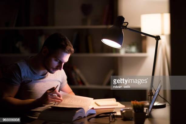 student studeert 's nachts met een bureaulamp op - studeren stockfoto's en -beelden