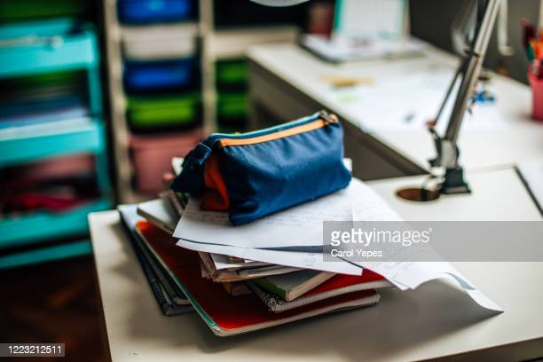 student supplies on desk at home - pencil case stock pictures, royalty-free photos & images