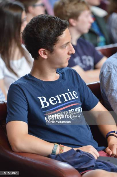A student supporting Bernie Sanders attends his speech at The Cambridge Union on June 2 2017 in Cambridge England The former US presidential...