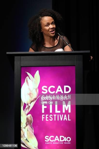 Student Tajinae Turner speaks during the 'Rising Star Award' during the 21st SCAD Savannah Film Festival on November 2 2018 in Savannah Georgia