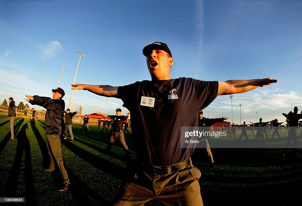 Student Umpires perform a signal drill during the Jim Evans Academy of Professional Umpiring on January 27, 2011 at the Houston Astros Spring Training Complex in Kissimmee, Florida. Jim Evans was a Major League Umpire for 28 years that included umpiring four World Series. Many of his students have gone on to work on all levels of baseball including the Major Leagues.