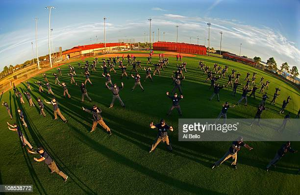 Student Umpires perform a signal drill during the Jim Evans Academy of Professional Umpiring on January 27 2011 at the Houston Astros Spring Training...