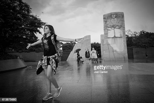 Student visiting Martin Luther King Jr Memorial
