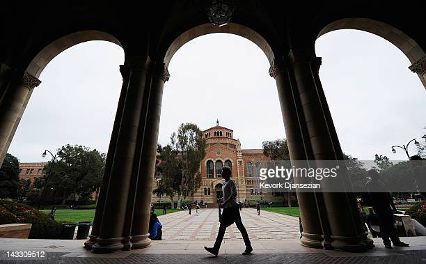 Student walks near Royce Hall on the campus of UCLA on April 23, 2012 in Los Angeles, California. According to reports, half of recent college...