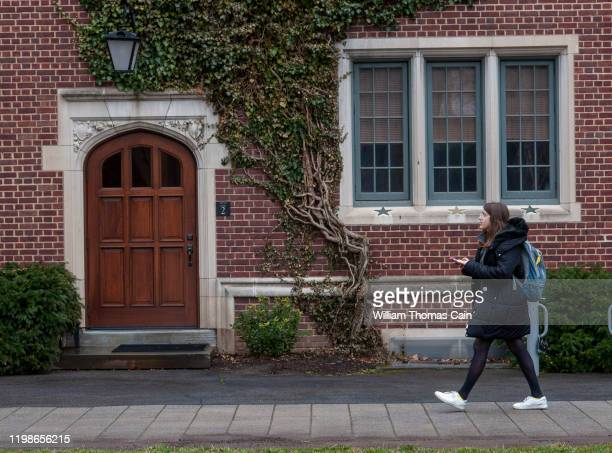 Student walks on campus at Princeton University on February 4, 2020 in Princeton, New Jersey. The university said over 100 students, faculty, and...