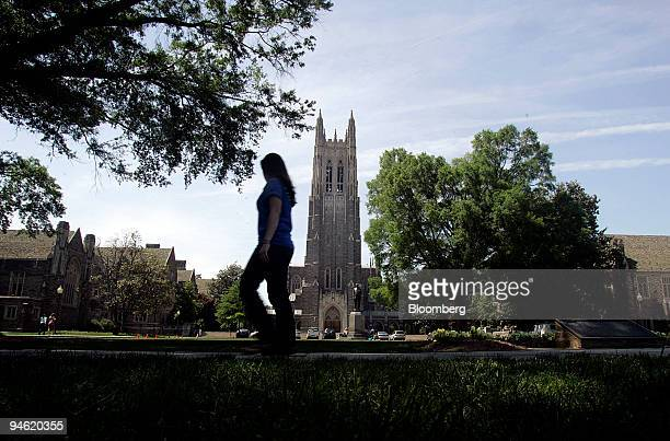A student walks past Duke Chapel on the campus of Duke University in Durham North Carolina Monday April 30 2007