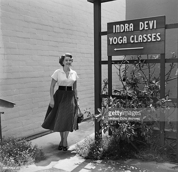 A student walks to Indra Devi Yoga Studio in HollywoodCalifornia