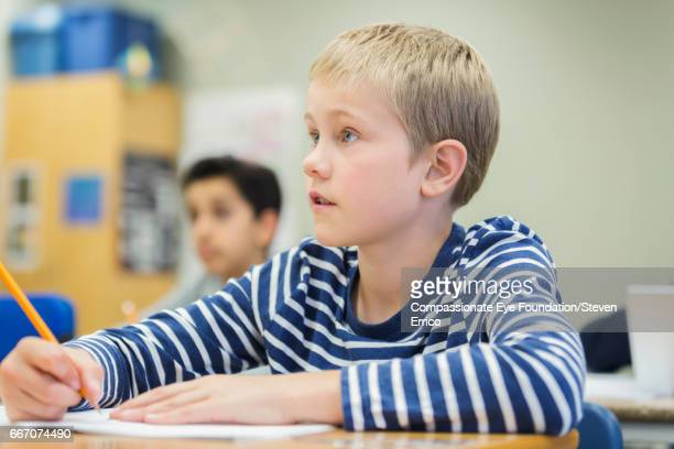 Student working in classroom