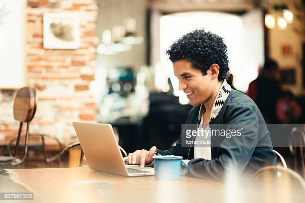 Student Working in Coffeeshop
