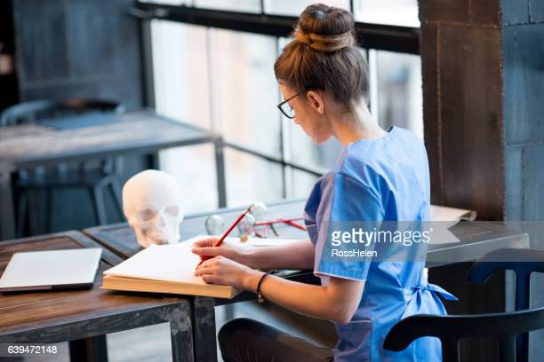 Student working on medical exam