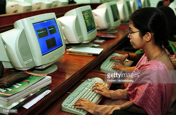 A student works at a computer February 16 2000 at Fatima Women's University a new university for women in Rawalpindi Pakistan