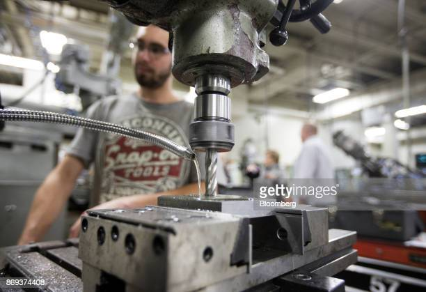 A student works on a milling machine cutting metal at the vocational training centre in Montmagny Quebec Canada on Tuesday Oct 31 2017 In this region...