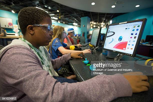 A student works on computeraided design software for fabrication during a summer school course at the Museum of Science and Industry's Wanger Family...