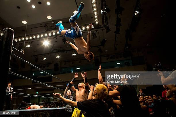 Student wrestlers fight in the ring during the Student ProWrestling Summit on February 26 2015 in Tokyo Japan Members of college prowrestling clubs...