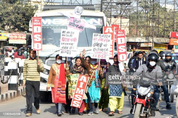 Students affiliated to Left parties protest against Chief Minister of Uttar Pradesh Yogi Adityanath due to increase in rape cases in the state, at...