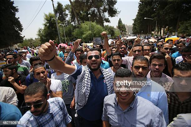 Students and academicians of Jordan University stage a protest for Ali Dawabsheh Palestinian baby killed when Jewish residents of the village of Duma...