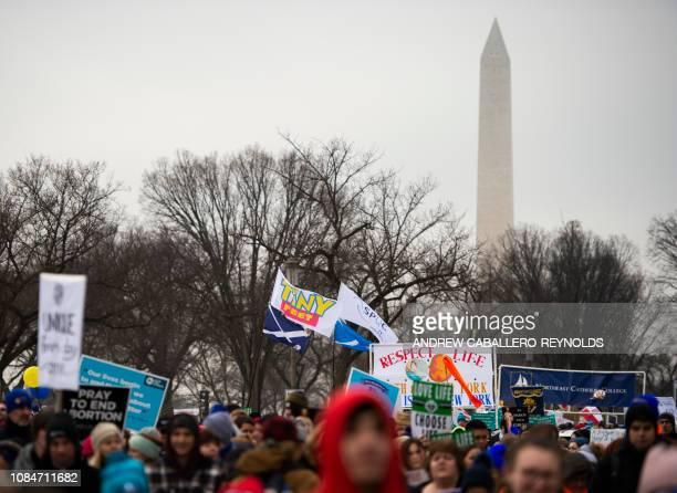 Students and activists carry signs during the annual 'March for Life' in Washington DC on January 18 2019