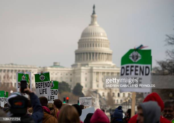 Students and activists carry signs during the annual March for Life in Washington DC on January 18 2019