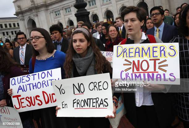 Students and alumni from Jesuit schools and universities rally for immigration reform at Columbus Circle November 6 2017 in Washington DC The...