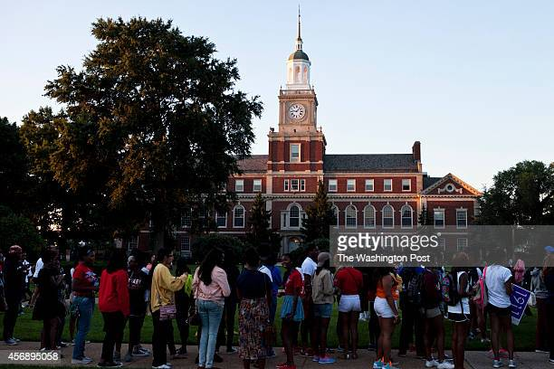 Students and alumni line up to receive tshirts and posters on the Yard at Howard University before a planned march from the campus to the Lincoln...