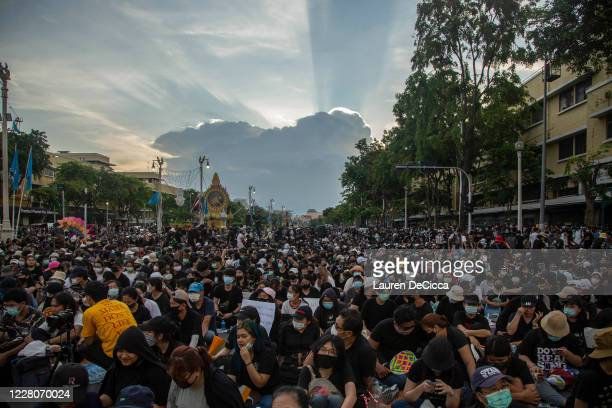 Students and anti-government protesters attend a rally at Democracy Monument on August 16, 2020 in Bangkok, Thailand. Approximately 10,000...