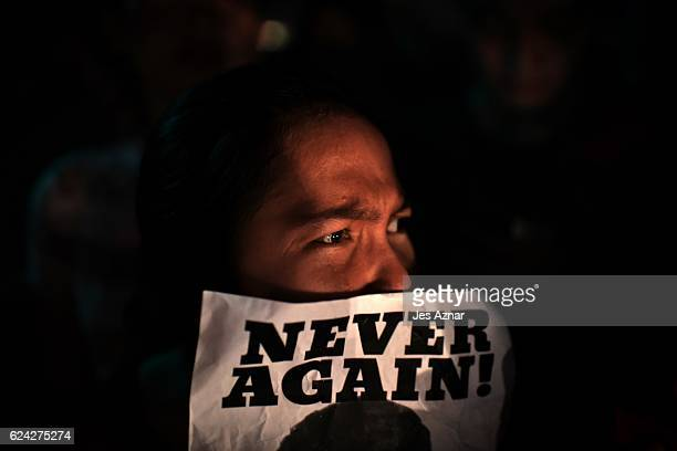 Students and antiMarcos activists take to the streets of Manila to protest the hero's burial accorded to former Philippine dictator Ferdinand Marcos...