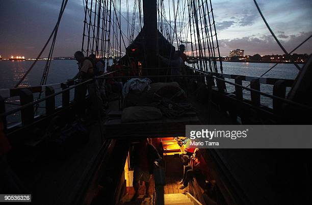 Students and crew members gather on the Half Moon a replica of the ship Henry Hudson sailed when he discovered Manhattan September 9 2009 off the...