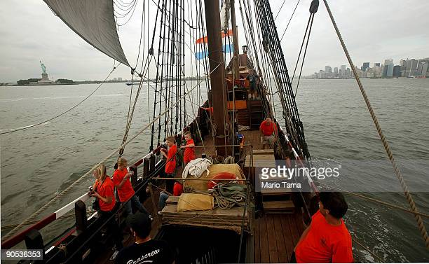 Students and crew members gather on the Half Moon a replica of the ship Henry Hudson sailed when he discovered Manhattan while sailing past the...