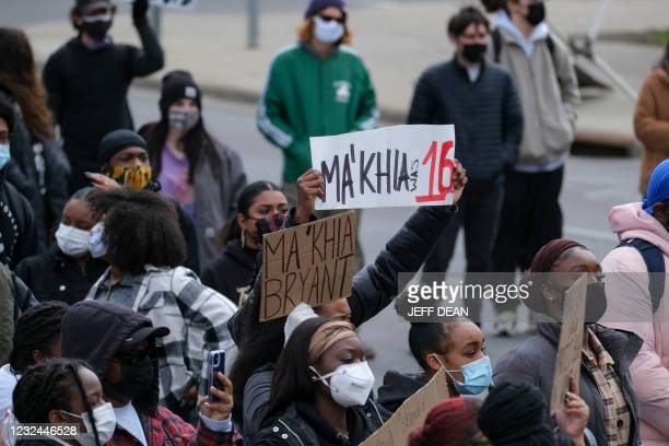 Students and demonstrators march on the campus of The Ohio State University in Columbus, Ohio on April 21, 2021 to protest the killing of MaKhia...