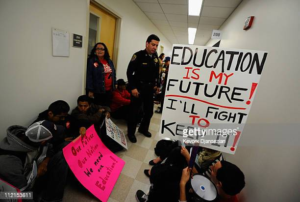 Students and faculty members stage a sitin in front of the school president's office at California State University Northridge demonstrating against...