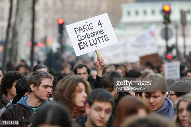 Students and high school students demonstrate, 27 November 2007 in Paris, to protest against Pecress law on universities reforms. Students...