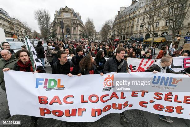 Students and high school students take part in a rally place SaintMichel to protest against a proposed reform of the Baccalaureat and against...