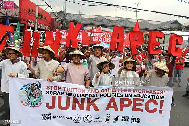 Students and labor group march in Buendia Avenue in Pasay City the militant group trying to get closer to Philippine International Convention Center...