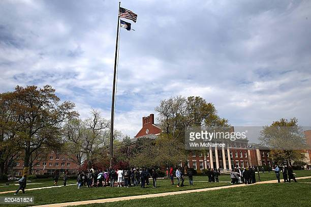 Students and members of the administration at Howard University hold a rally against sexual assault on the campus of the university April 11 2016 in...
