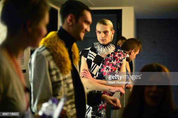 Students and models prepare for the Glasgow Art School fashion show on March 21 2017 in Glasgow Scotland 2017 marks the 70th anniversary of the first...