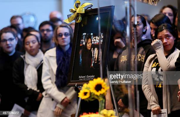 Students and mourners attend a vigil for Nohemi Gonzalez who was killed during the attacks in Paris, on November 15, 2015 in Long Beach, California....