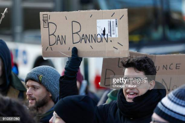 Students and others demonstrate the invitation of Steve Bannon to come to the University of Chicago on Thursday, Jan. 25 in Chicago.