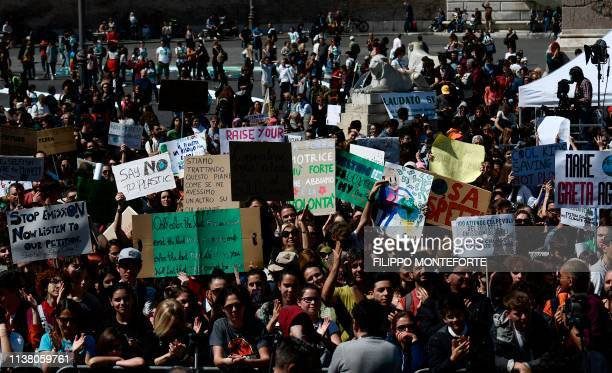 Students and people take part in the Fridays For Future rally in Piazza del Popolo in Rome on April 19 to demand action to prevent further global...