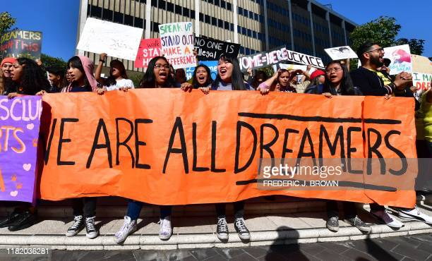 Students and supporters of DACA rally in downtown Los Angeles, California on November 12, 2019 as the US Supreme Court hears arguments to make a...