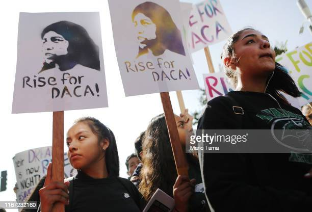 Students and supporters rally in support of DACA recipients on the day the Supreme Court hears arguments in the Deferred Action for Childhood...