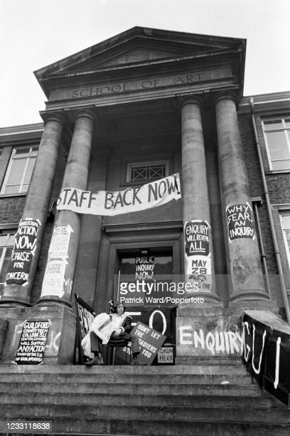 Students and teachers at the Guildford School of Art in Surrey involved in a long-running protest movement, circa June 1969. From a series of images...