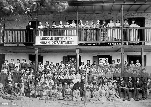 Students and teachers stand outside of the Lincoln Institution an Indian Girl's School near General Wayne PO Delaware Co Penn October 1884 | Location...